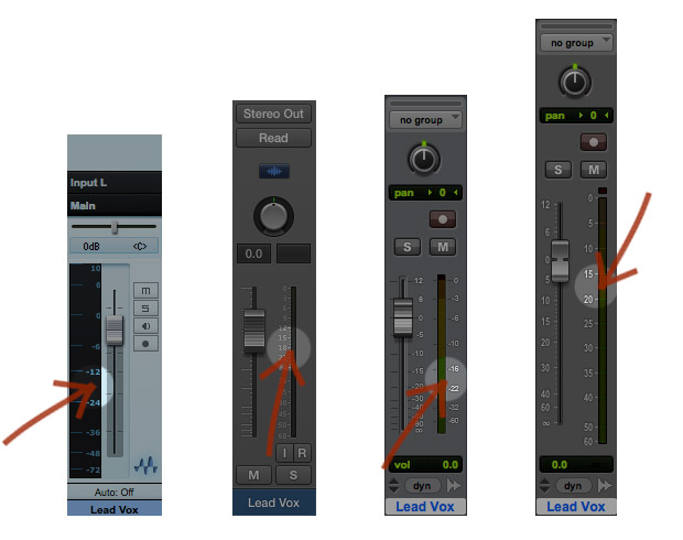 From Left To Right: Studio One 2, Logic Pro X, Pro Tools 10, Pro Tools 11